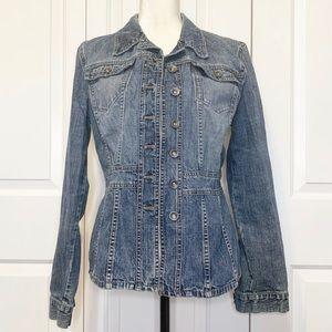 • DKNY Jeans Vintage Medium Wash Denim Jacket XL •